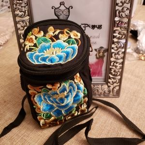 BOHO Embroidered wristlet crossbody bag